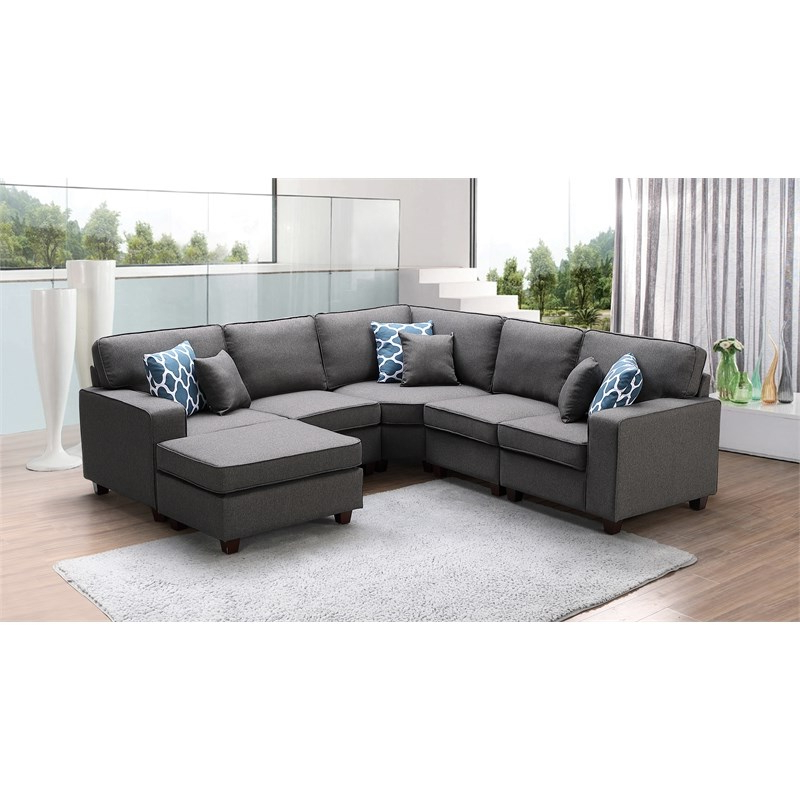 Dream Navy 3 Piece Modular Sofas Throughout Well Known Sonoma Dark Gray Fabric 6Pc Modular Sectional Sofa And (View 3 of 15)