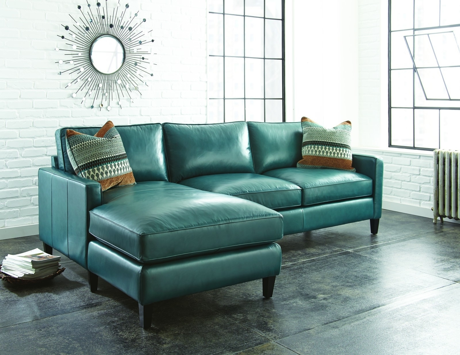 Dulce Mid Century Chaise Sofas Dark Blue Inside Latest Turquoise Leather Sectional Sofa Naples Turquoise Leather (View 3 of 25)