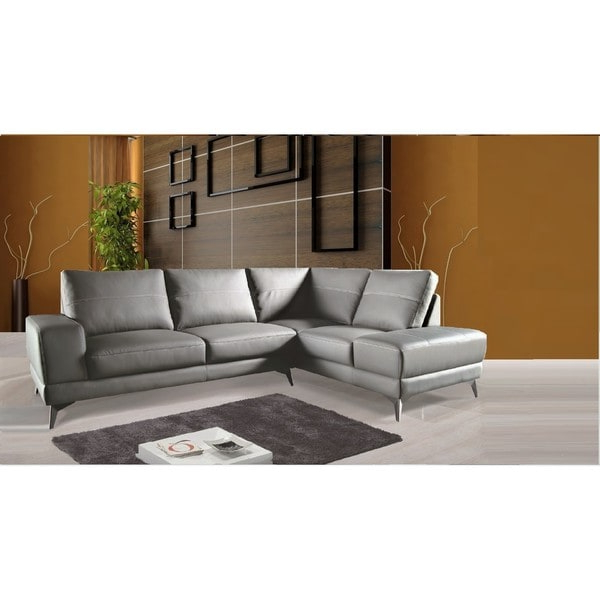 Dulce Right Sectional Sofas Twill Stone Pertaining To Best And Newest Shop Zoe Sectional Top Grain Leather Sofa Facing Left (View 11 of 25)
