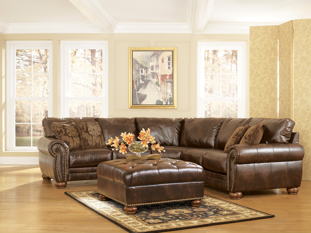 Durablend Traditional Antique Brown Sectional Sofaashley Pertaining To Recent 3Pc Bonded Leather Upholstered Wooden Sectional Sofas Brown (View 10 of 25)
