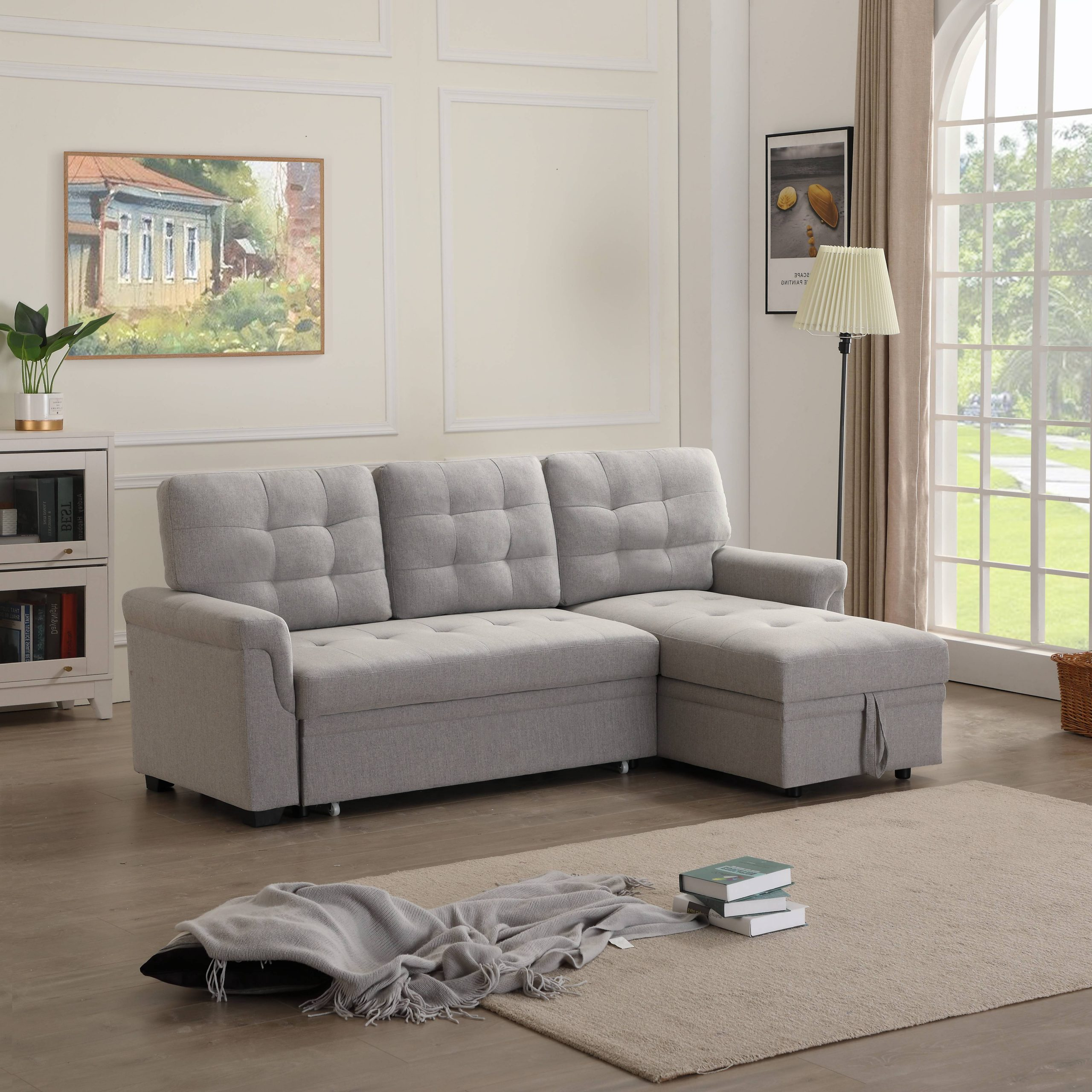 """Easton Small Space Sectional Futon Sofas Pertaining To Fashionable 86""""W Modern Sectional Sofa Bed With Reversible Chaise, L (View 11 of 25)"""