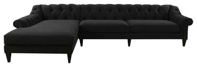 Element Right Side Chaise Sectional Sofas In Dark Gray Linen And Walnut Legs Regarding Famous Alexandra Chesterfield Tufted Right Facing Sectional Sofa (View 21 of 25)