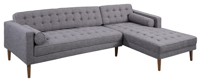 Element Right Side Chaise Sectional Sofas In Dark Gray Linen And Walnut Legs Regarding Famous Element Left Side Chaise Sectional – Midcentury (View 10 of 25)