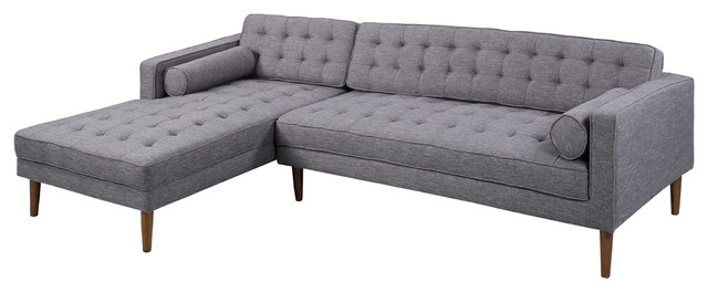 Element Right Side Chaise Sectional Sofas In Dark Gray Linen And Walnut Legs Regarding Widely Used Armen Living Element Chaise Sectional, Dark Gray Linen And (View 3 of 25)