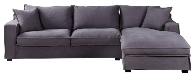 Element Right Side Chaise Sectional Sofas In Dark Gray Linen And Walnut Legs Within Most Recently Released Chill Sectional, Gray – Transitional – Sectional Sofas (View 14 of 25)