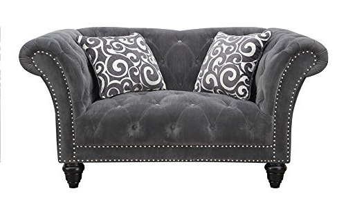 Emerald Home U3164 01 13 Hutton Ii Loveseat Nail Head With Within Newest 3Pc Polyfiber Sectional Sofas With Nail Head Trim Blue/Gray (View 1 of 25)