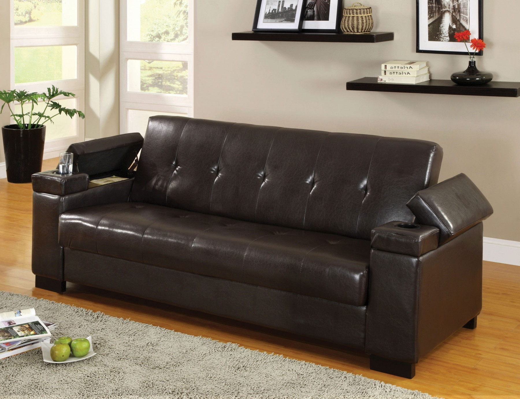 Enrico Sofa Bed With Storage & Cup Holder – Futons With Regard To Recent Celine Sectional Futon Sofas With Storage Reclining Couch (View 11 of 25)