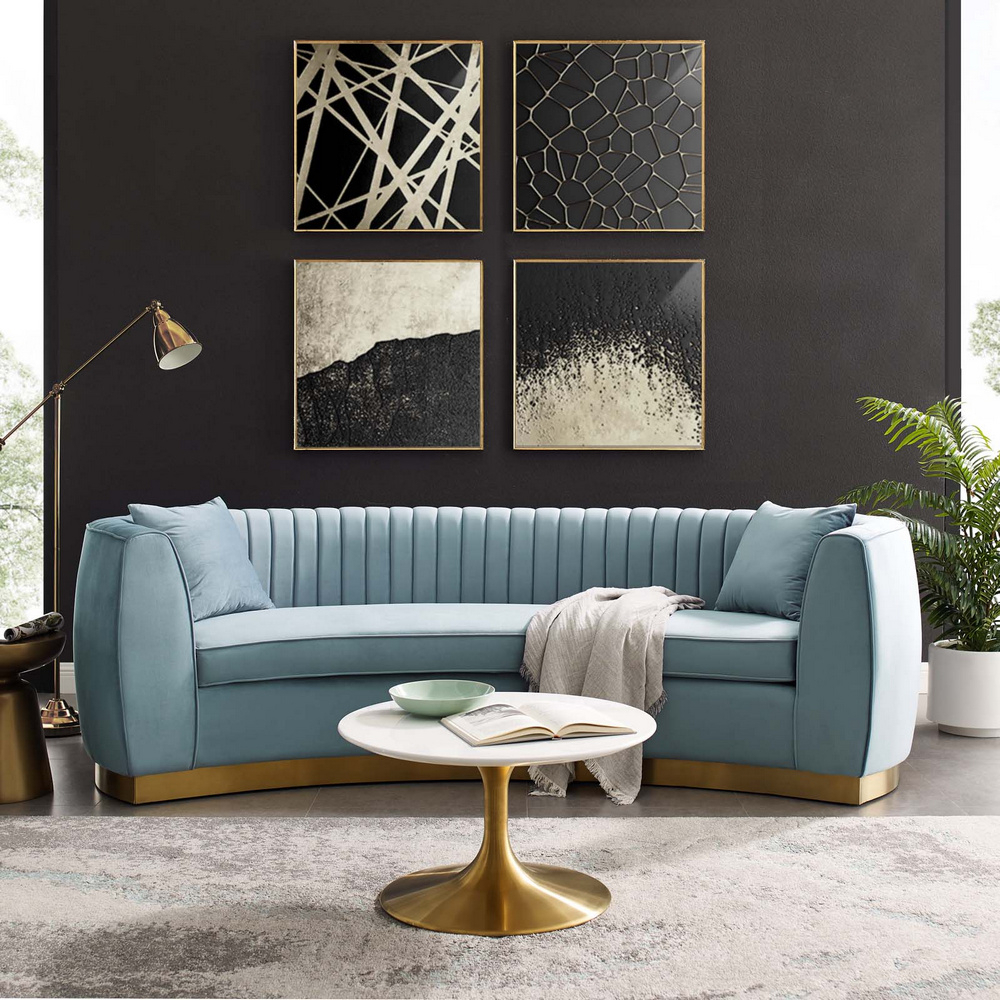 Enthusiastic Light Blue Velvet Fabric Sofa (Oversized) For Most Up To Date Molnar Upholstered Sectional Sofas Blue/Gray (View 7 of 25)