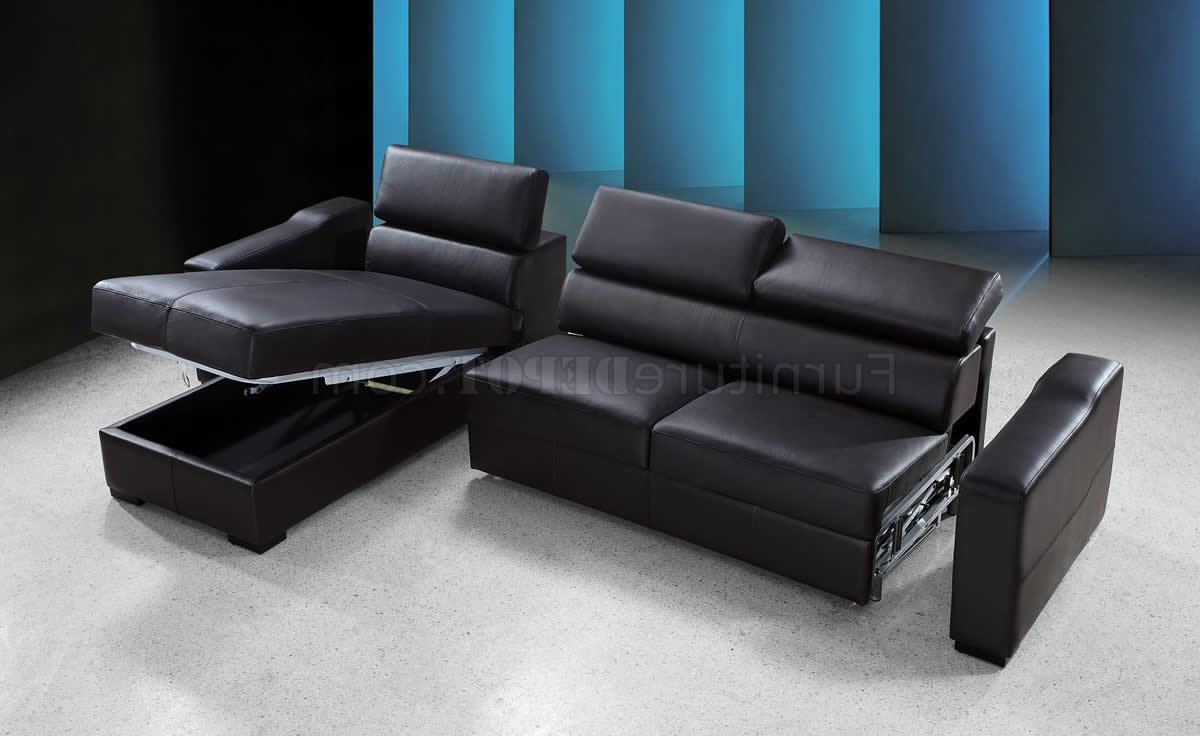 Espresso Leather Modern Sectional Sofa Bed W/Storage For Fashionable Palisades Reversible Small Space Sectional Sofas With Storage (View 17 of 25)