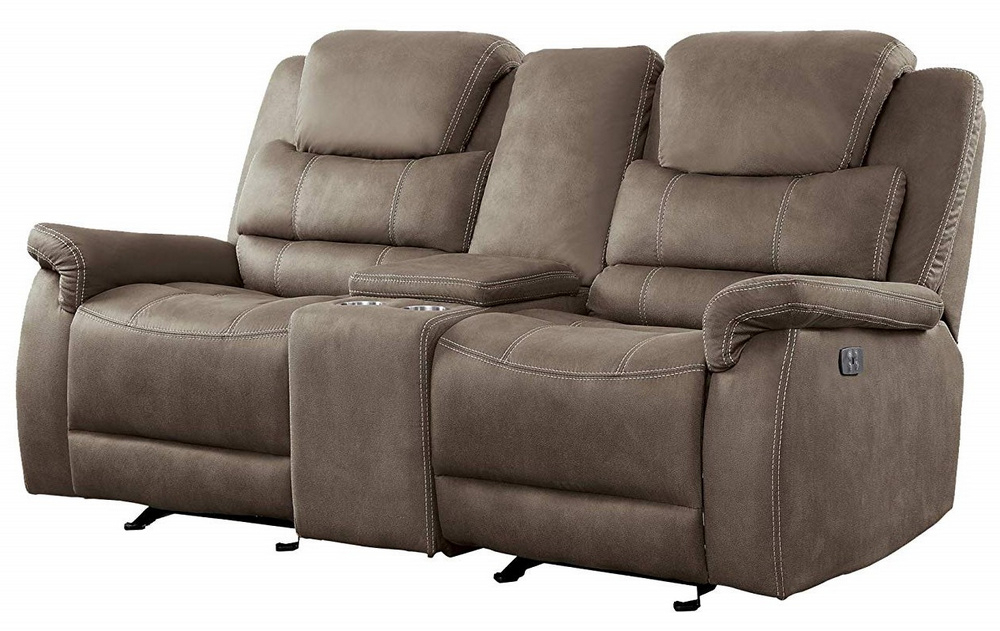 Expedition Brown Power Reclining Sofas Regarding Well Known Shola Brown Fabric Power Recliner Loveseat W/Console (View 4 of 15)