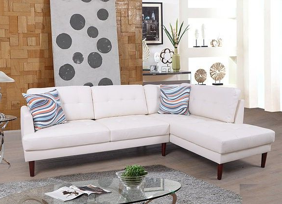 F6007A 2 Pc Lifestyle White Faux Leather Sectional Sofa Inside Well Known 2Pc Connel Modern Chaise Sectional Sofas Black (View 8 of 25)