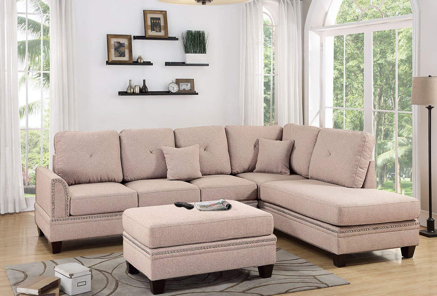 Famous 2Pc Polyfiber Sectional Sofas With Nailhead Trims Gray With Coffee 2Pc Sectional Sofa With Nail Head Trim Accents (View 15 of 25)