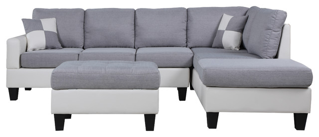 Famous 3Pc Polyfiber Sectional Sofas With Nail Head Trim Blue/Gray For Classic Two Tone Large Fabric & Bonded Leather Sectional (View 8 of 25)