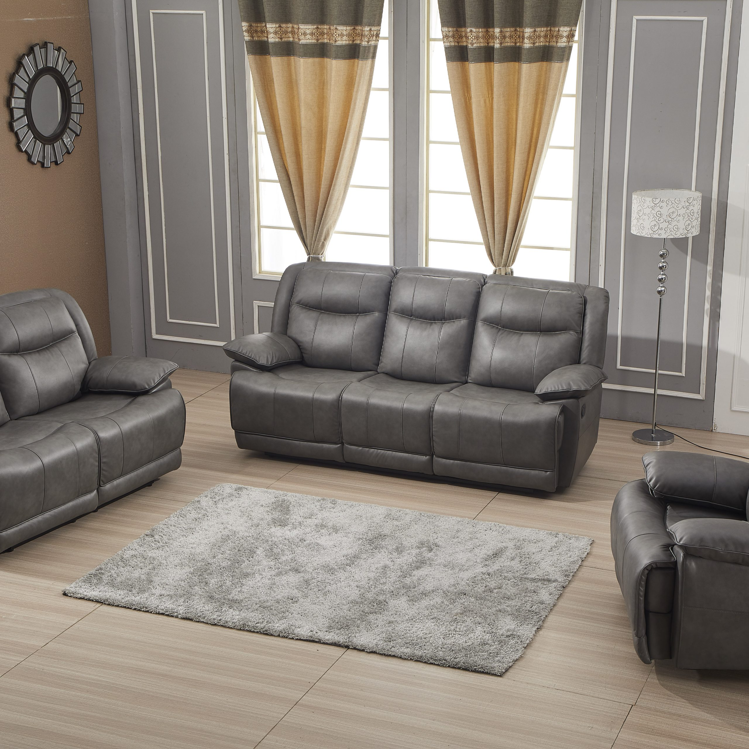Famous Betsy Furniture Bonded Leather Reclining Sofa Couch Set Inside Gray Reclining Sofas (View 2 of 17)