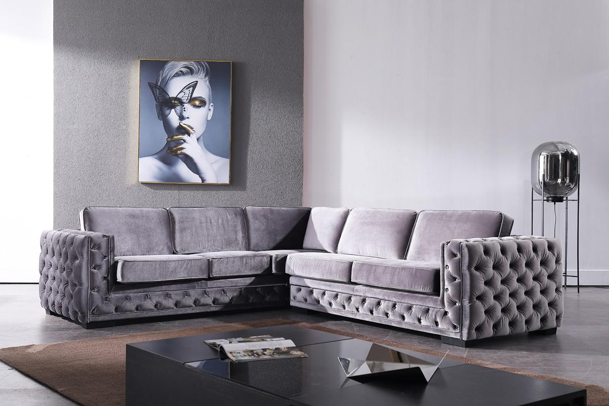 Famous Divani Casa Jean Modern Grey Velvet Sectional Sofa Intended For Strummer Velvet Sectional Sofas (View 5 of 25)