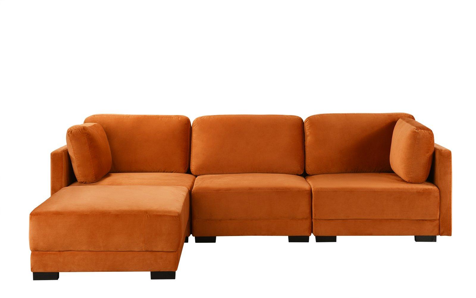 Famous Florence Mid Century Modern Velvet Left Sectional Sofas With Regard To Orange Upholstered Velvet Sectional Sofa, L Shape Modern (View 3 of 25)