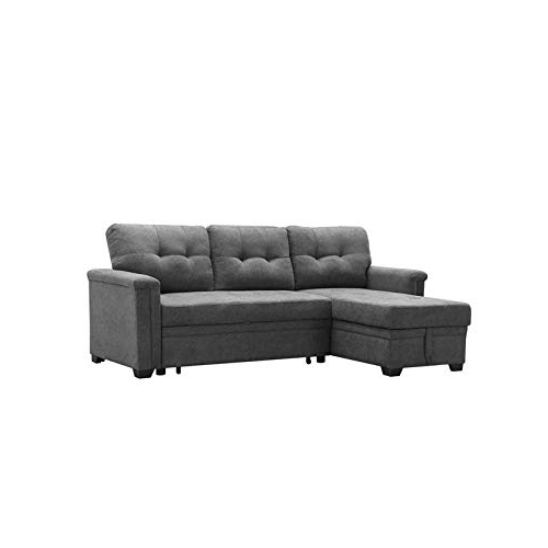Famous Maklaine Contemporary Gray Fabric Reversible/Sectional Inside Harmon Roll Arm Sectional Sofas (View 7 of 25)