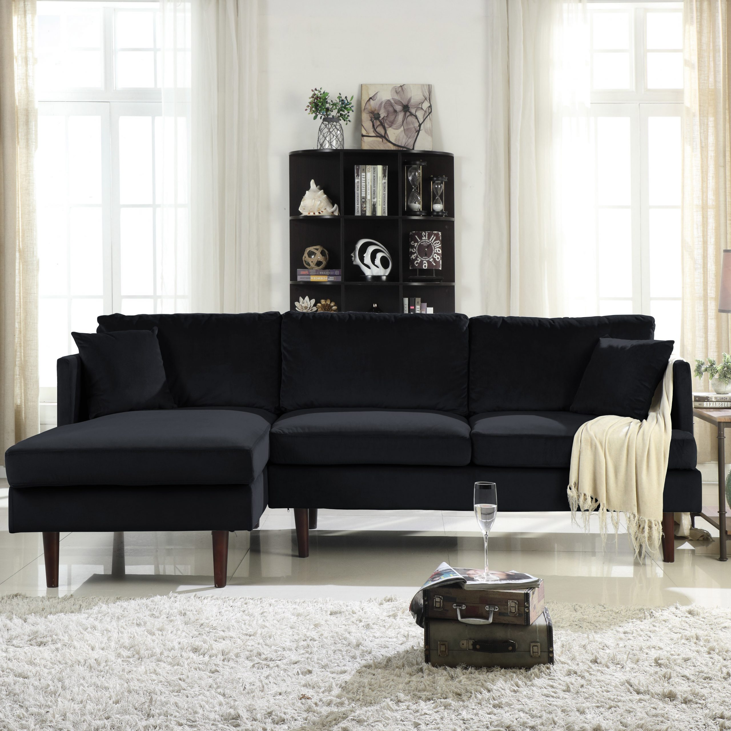 Famous Mobilis Mid Century Modern Brush Microfiber L Shape Sofa Within Alani Mid Century Modern Sectional Sofas With Chaise (View 18 of 25)