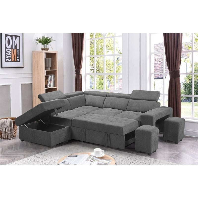 Famous Sectional Sofa Sleeper L Shaped Pull Out Bed Storage Regarding Hartford Storage Sectional Futon Sofas (View 11 of 25)