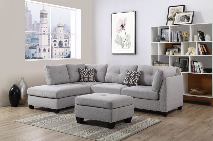 Fashionable 2Pc Polyfiber Sectional Sofas With Nailhead Trims Gray Within Oah D6605 3 Pc Martinique Light Gray Linen Like Fabric (View 11 of 25)