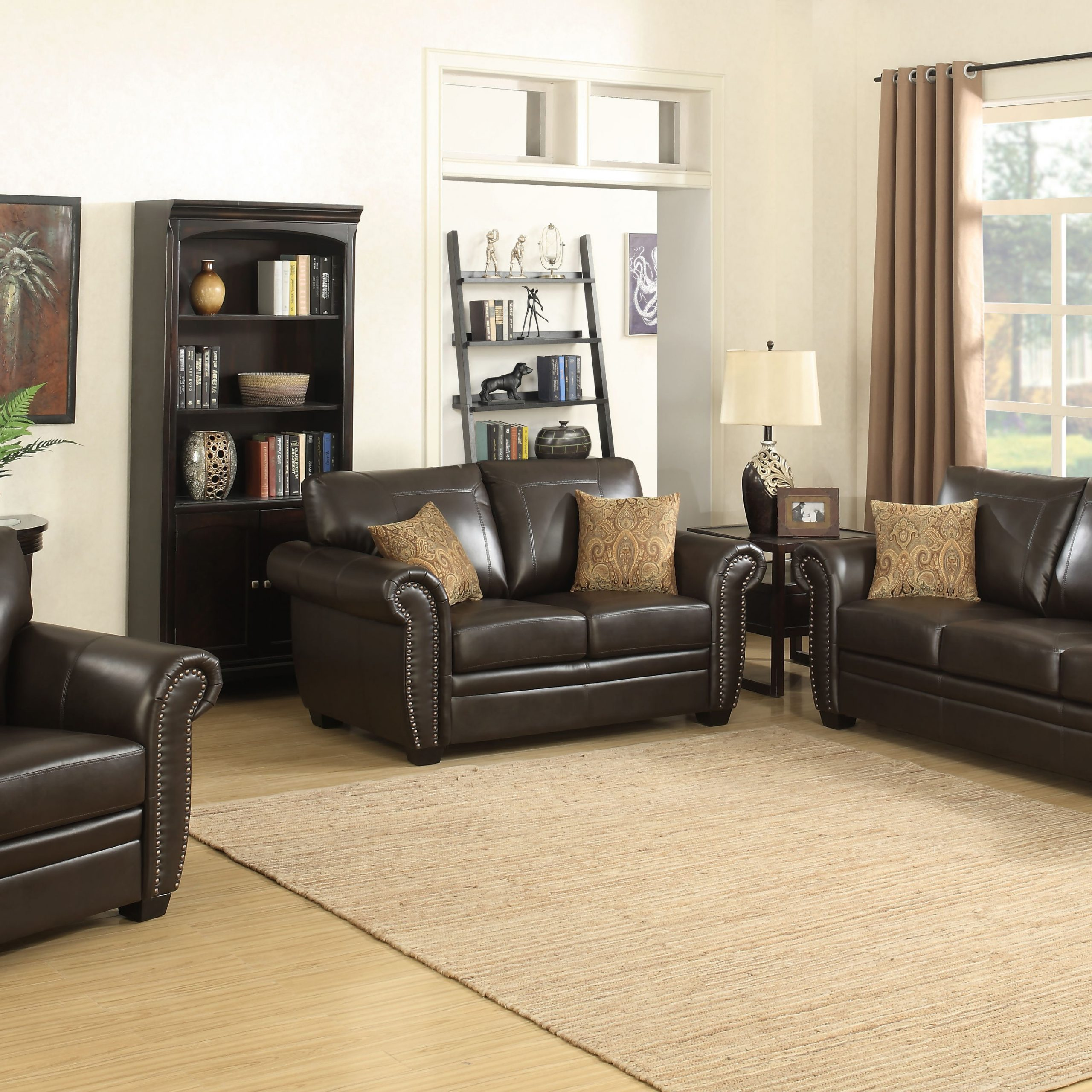 Fashionable 3Pc Faux Leather Sectional Sofas Brown In Louis Collection Traditional 3 Piece Upholstered Leather (View 25 of 25)