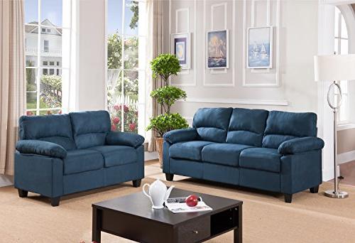 Fashionable Artisan Blue Sofas For Kings Brand Furniture Blue Microfiber Living Room Set (View 8 of 15)