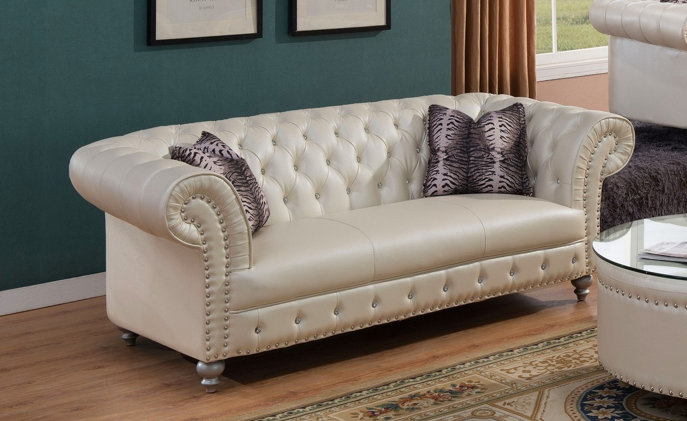 Fashionable Beige Sofas Regarding Josephine Glam Crystal Tufted Chesterfield Sofa In Beige (View 7 of 15)