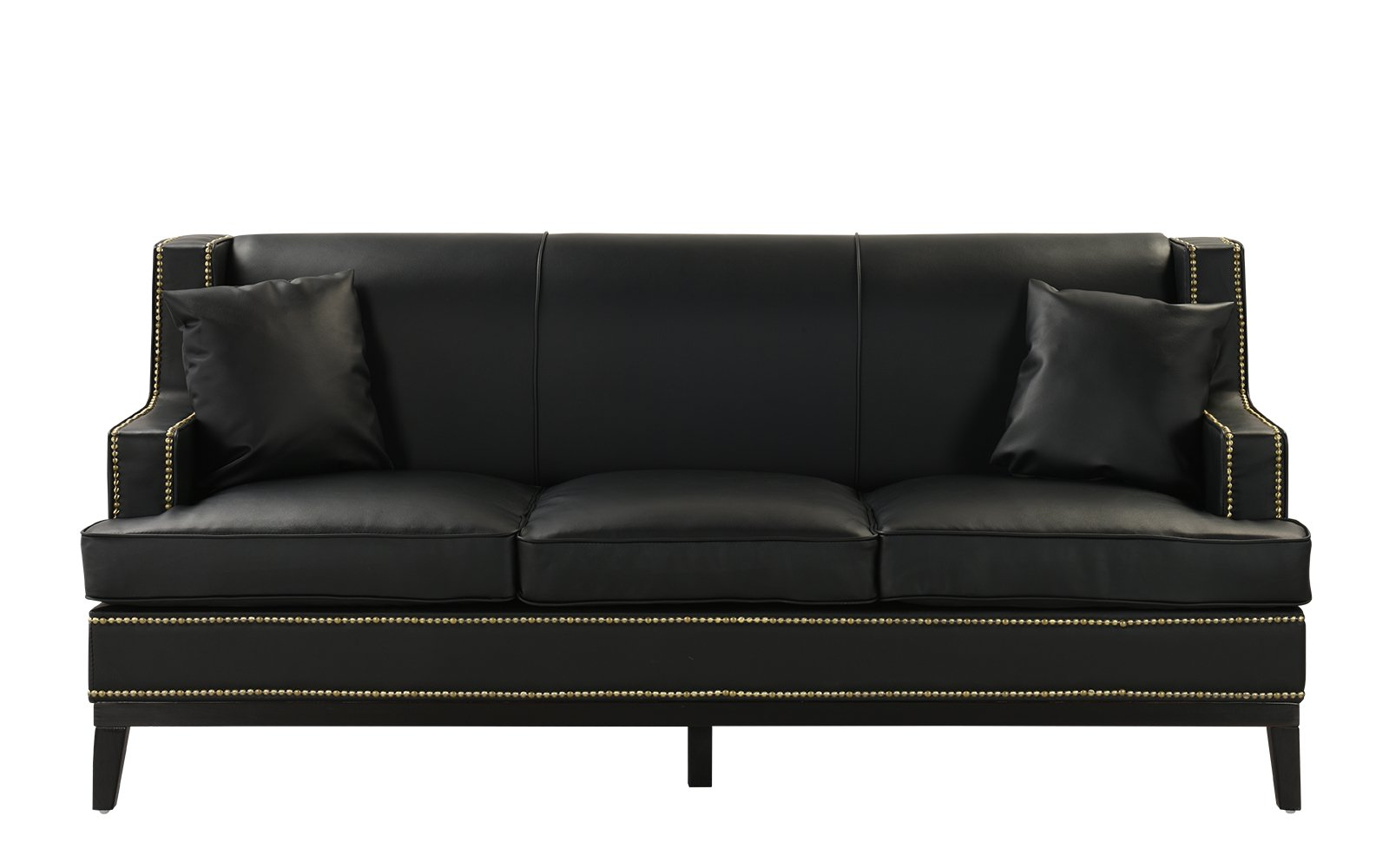 Fashionable Black Modern Bonded Leather Sofa With Nailhead Trim Detail Within Bonded Leather All In One Sectional Sofas With Ottoman And 2 Pillows Brown (View 14 of 25)