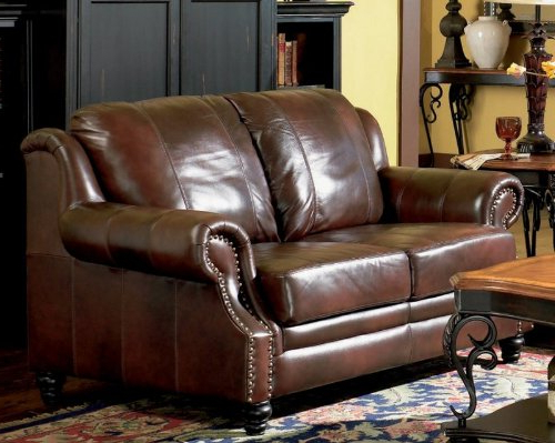Fashionable Burgundy Leather Sofas & Couches For 3Pc Polyfiber Sectional Sofas With Nail Head Trim Blue/Gray (View 2 of 25)