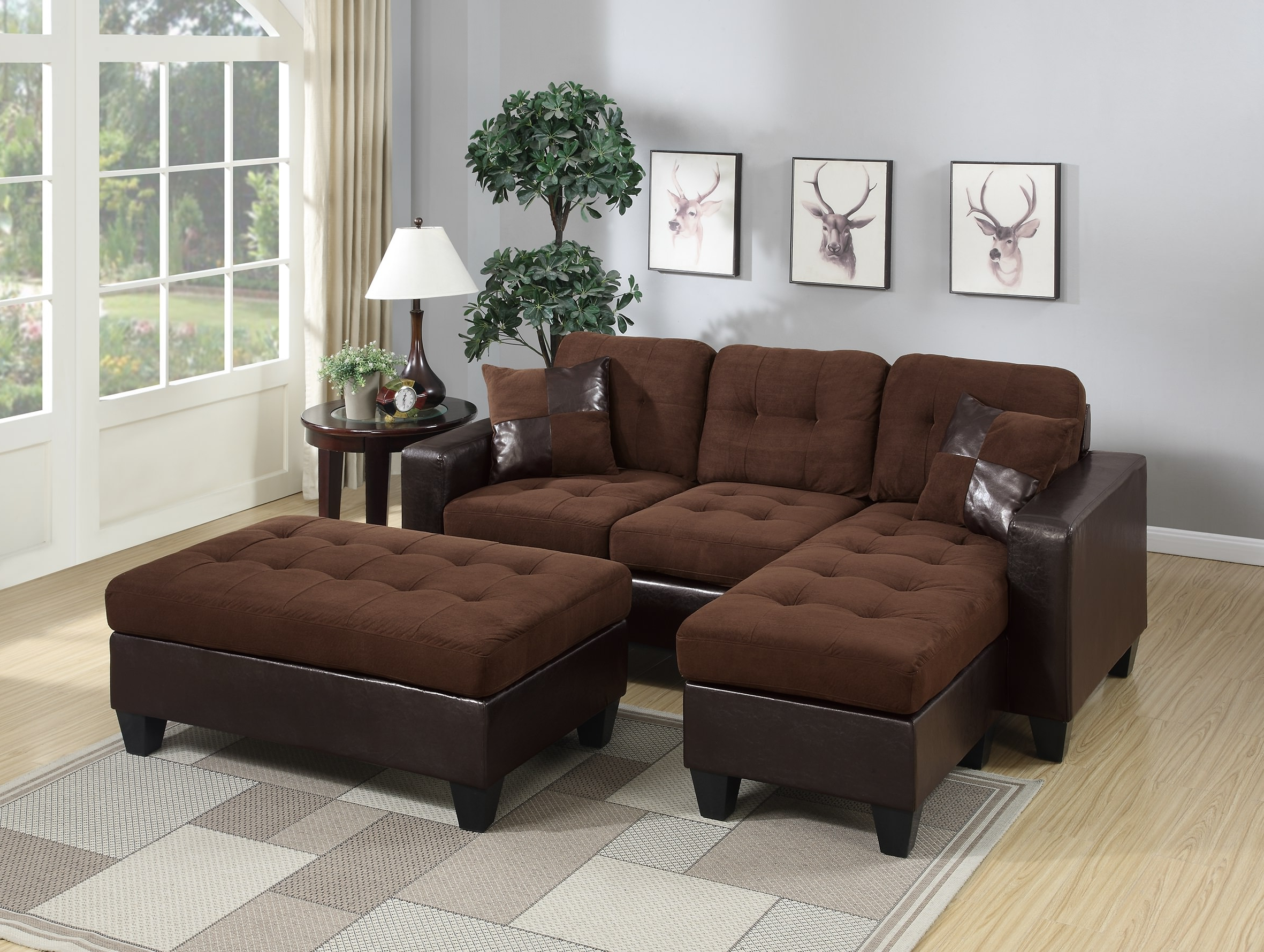 Fashionable Chocolate Bonded Leather 3Pc Reversible L Shaped Sectional Pertaining To Hannah Right Sectional Sofas (View 2 of 25)
