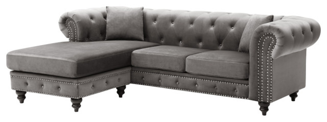 Fashionable Element Right Side Chaise Sectional Sofas In Dark Gray Linen And Walnut Legs Regarding Nola Sofa Chaise – Traditional – Sectional Sofas – (View 18 of 25)