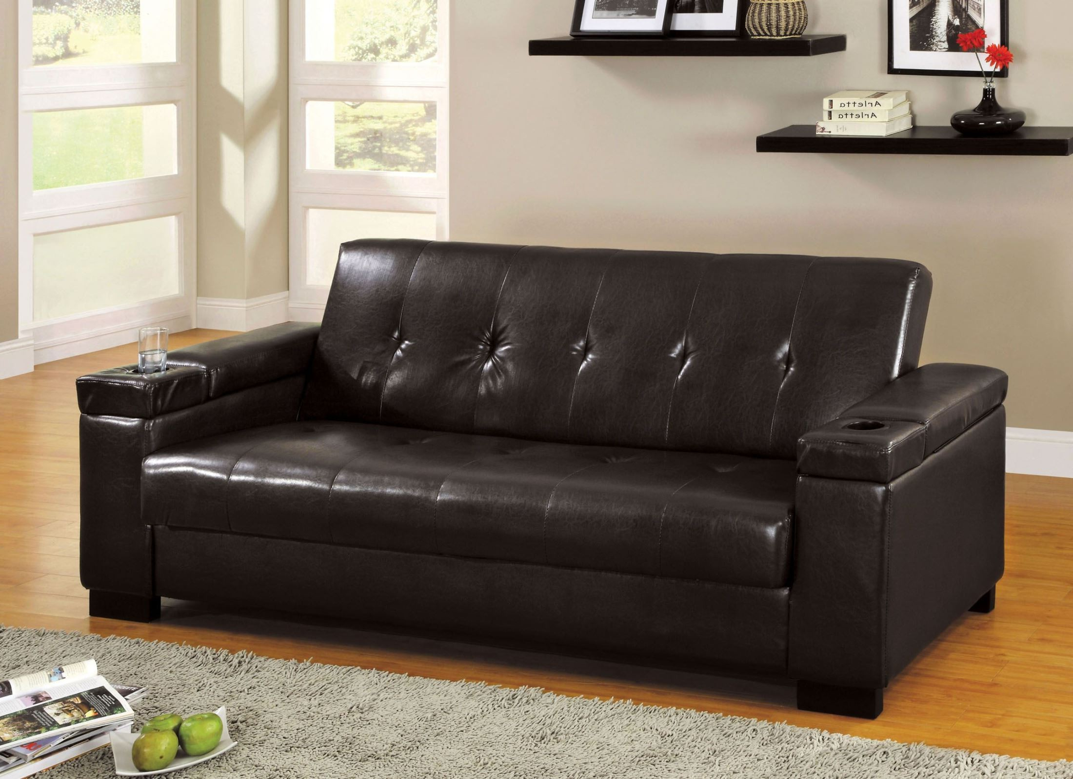 Fashionable Logan Leatherette Futon Storage Sofa From Furniture Of With Liberty Sectional Futon Sofas With Storage (View 15 of 25)