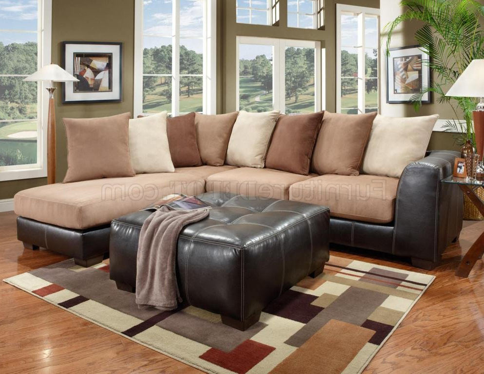 Fashionable Lyvia Pillowback Sofa Sectional Sofas Pertaining To Saddle Fabric & Dark Brown Vinyl Modern Sectional Sofa (View 18 of 25)