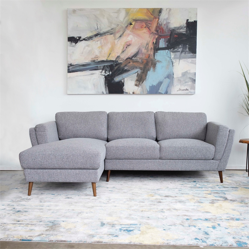 Fashionable Pemberly Row Mid Century Modern Sadie Gray Sectional Sofa Within Alani Mid Century Modern Sectional Sofas With Chaise (View 4 of 25)