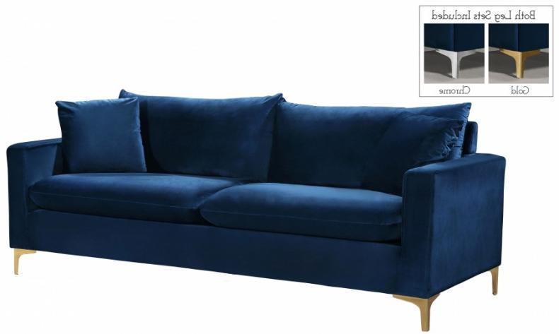 Fashionable Strummer Velvet Sectional Sofas Throughout Meridian Naomi Velvet Sofa In Navy 633Navy S – 1Stopbedrooms (View 25 of 25)