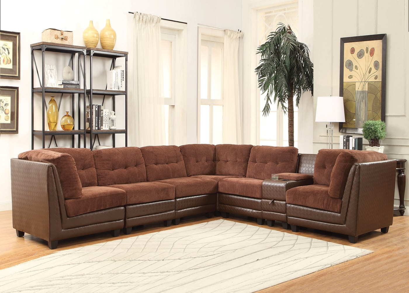 Fashionable Valen 7 Pc Casual Modular Sectional Sofa In Brown Chenille Throughout Paul Modular Sectional Sofas Blue (View 15 of 25)
