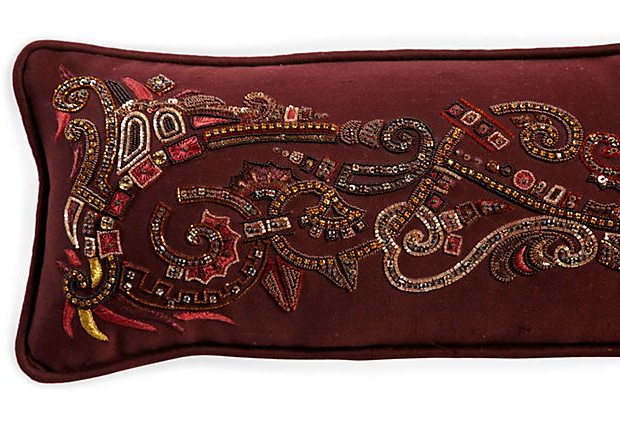 Favorite 4Pc French Seamed Sectional Sofas Oblong Mustard Throughout Long Burgundy Beaded Pillow (View 3 of 25)