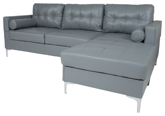 Favorite Element Right Side Chaise Sectional Sofas In Dark Gray Linen And Walnut Legs Within Back Sectional With Left Side Facing Chaise And Bolster (View 13 of 25)