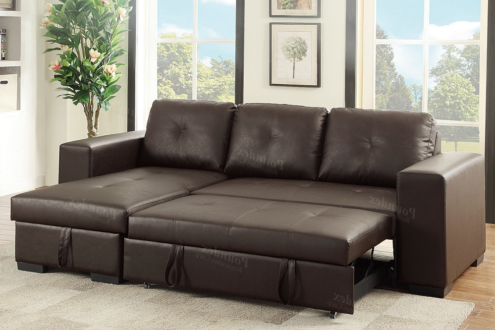 Favorite Espresso Pu Convertible Sectional Storage Sofa Bed Within Hartford Storage Sectional Futon Sofas (View 13 of 25)