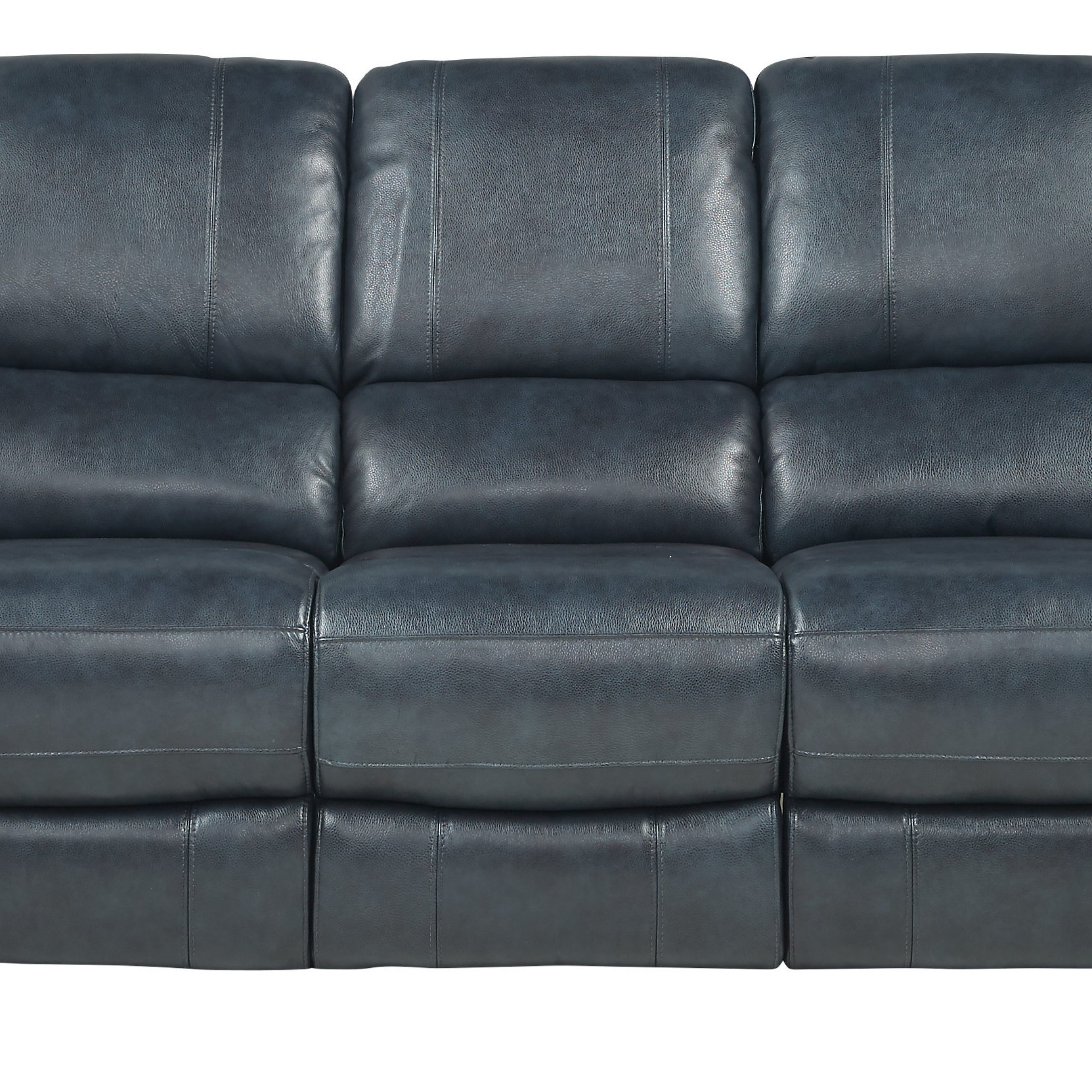 Favorite Frederickburg Blue Leather Power Reclining Sofa – Traditional, Throughout Power Reclining Sofas (View 3 of 15)