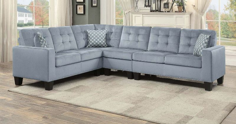 Favorite Home Elegance He 9957Gy 2 Pc Lantana Gray Fabric With Regard To 2Pc Polyfiber Sectional Sofas With Nailhead Trims Gray (View 3 of 25)