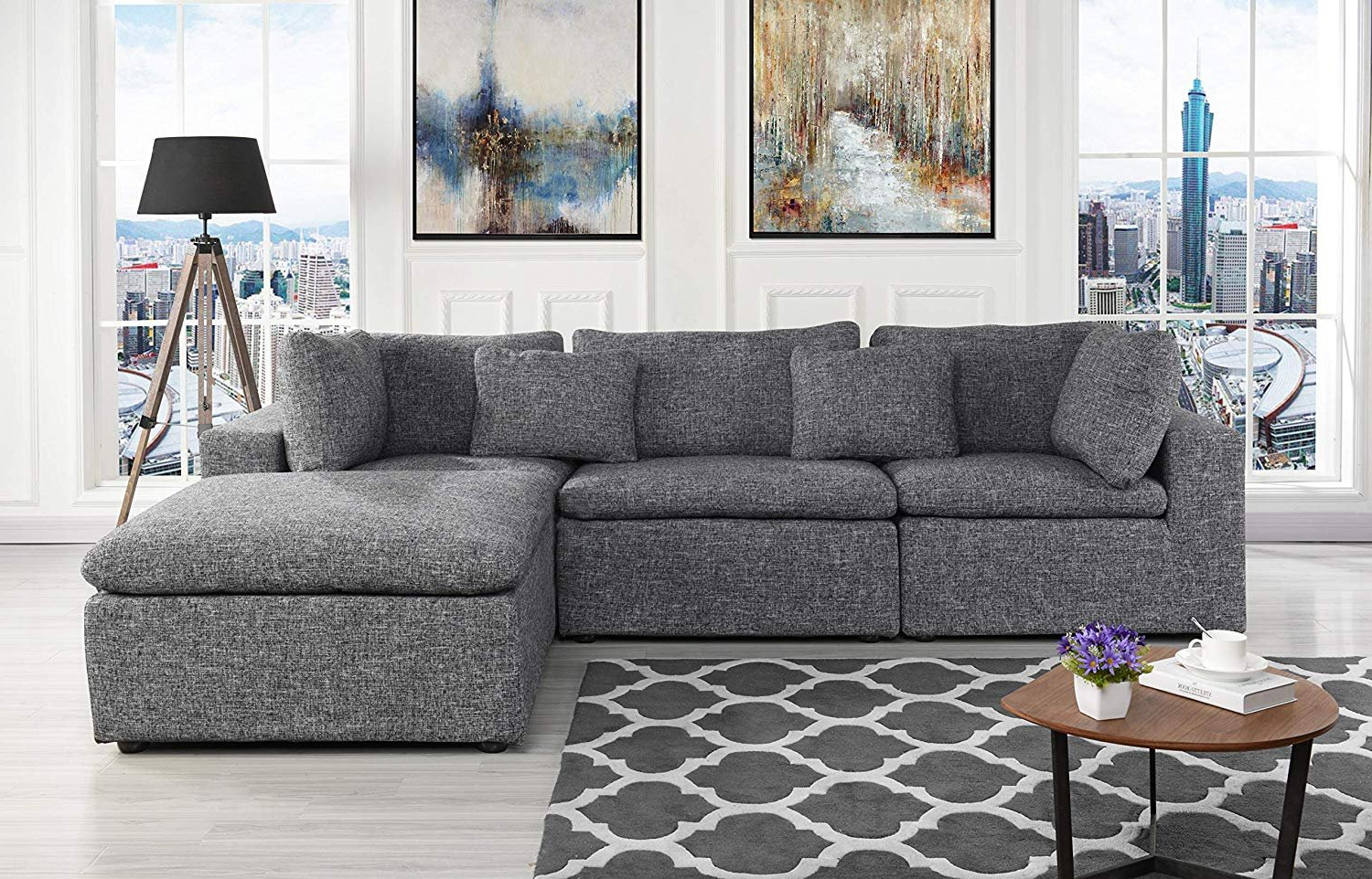 Favorite Large Linen Fabric Sectional Sofa, L Shape Couch With Wide Regarding 2Pc Crowningshield Contemporary Chaise Sofas Light Gray (View 1 of 25)