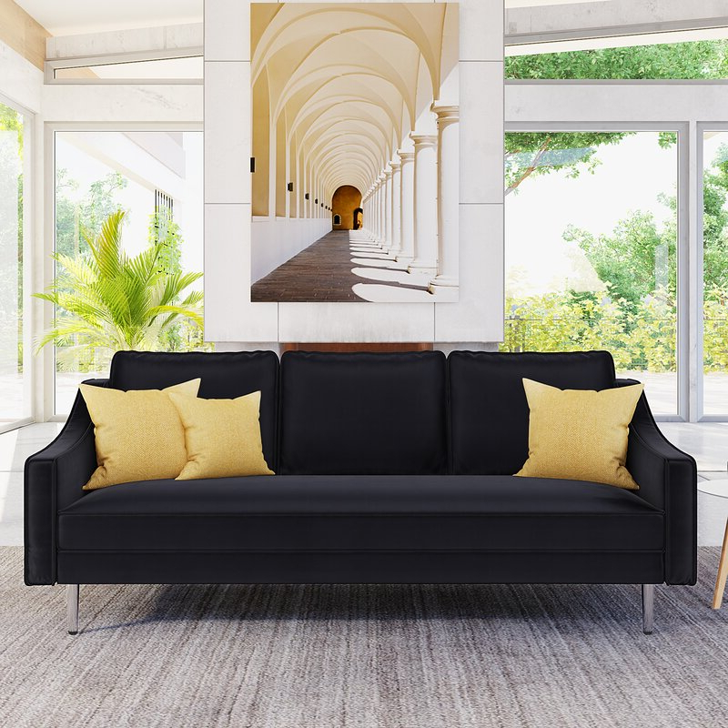 Favorite Mercer41 3 Piece Sofa Set Modern Style Sofa Furniture With Inside 3Pc French Seamed Sectional Sofas Velvet Black (View 20 of 25)