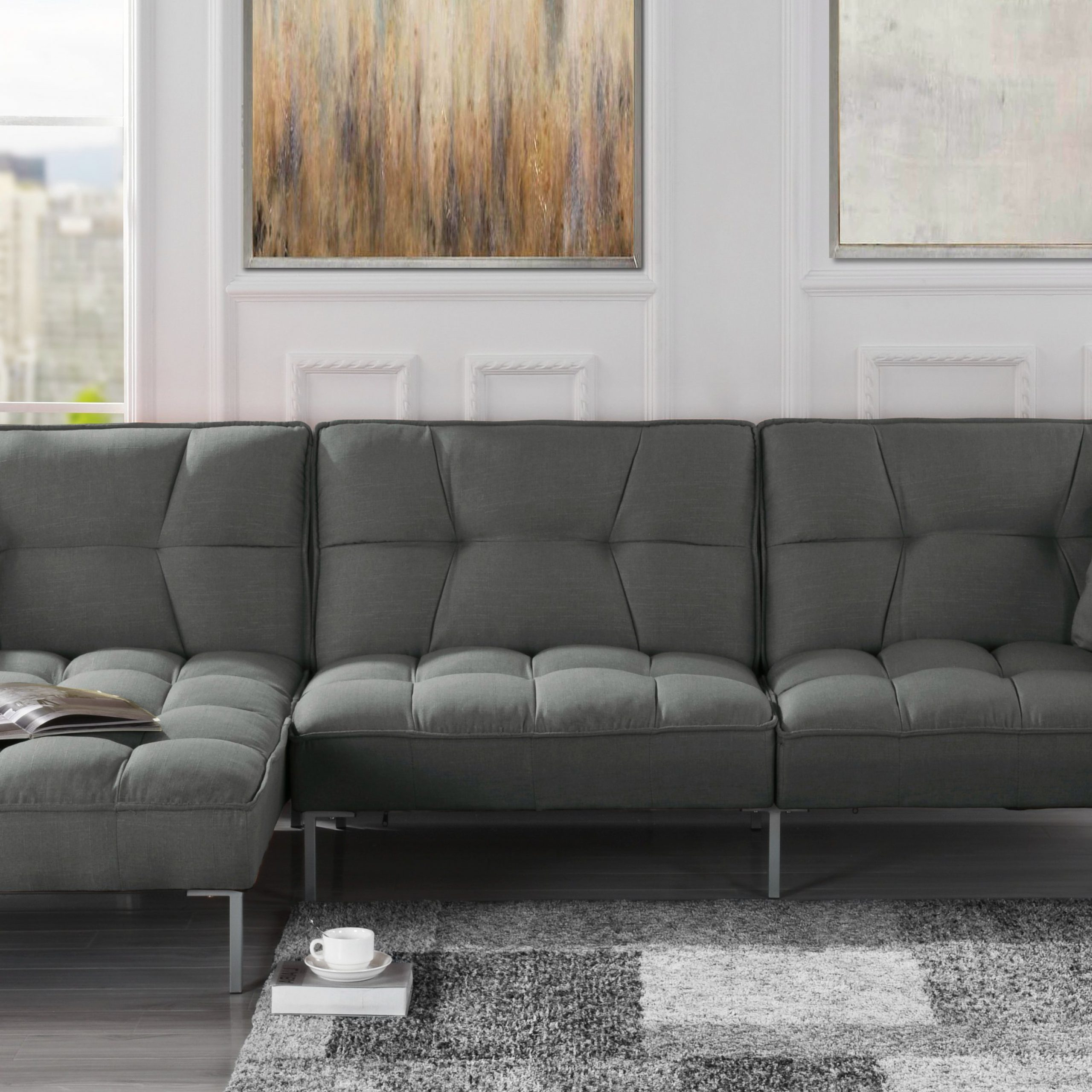 Favorite Mobilis Modern Square Tufted Linen Fabric Sectional Sofa With Polyfiber Linen Fabric Sectional Sofas Dark Gray (View 2 of 25)