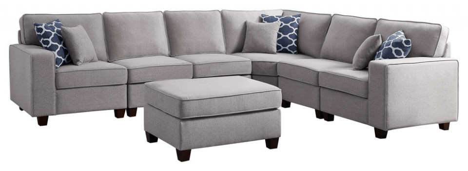 Favorite Molnar Upholstered Sectional Sofas Blue/Gray Pertaining To 10 Sectional Sofa With Ottoman (View 12 of 25)