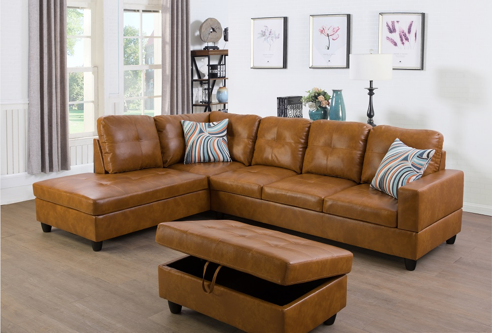 Favorite Monet Right Facing Sectional Sofas Throughout Ponliving Furniture Left Facing 3Pc Sectional Sofa Set (View 12 of 25)