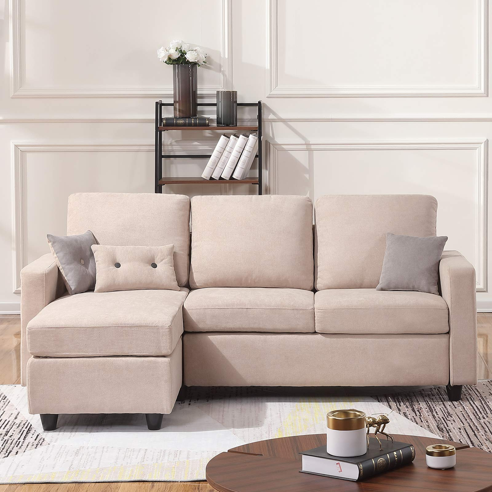 Favorite Owego L Shaped Sectional Sofas Intended For Honbay Convertible Sectional Sofa Couch Modern Linen (View 6 of 25)