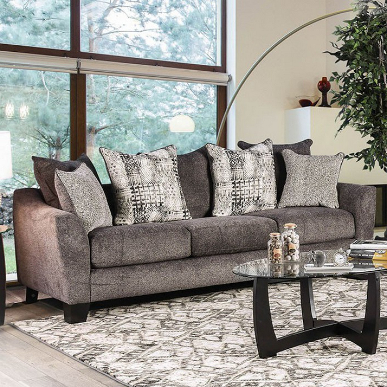 Felicity Contemporary Grey Chenille Sofa With Loose Pillow Within Widely Used Lyvia Pillowback Sofa Sectional Sofas (View 9 of 25)
