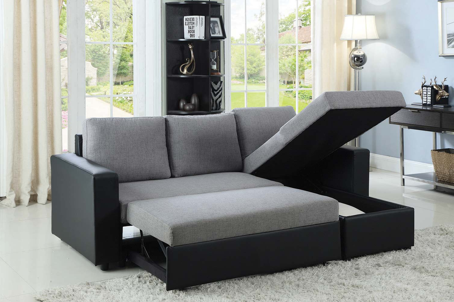 Felton Modern Style Pullout Sleeper Sofas Black Intended For Well Known Coaster Baylor Sectional Sofa – Grey/Black 503929 At (View 3 of 25)
