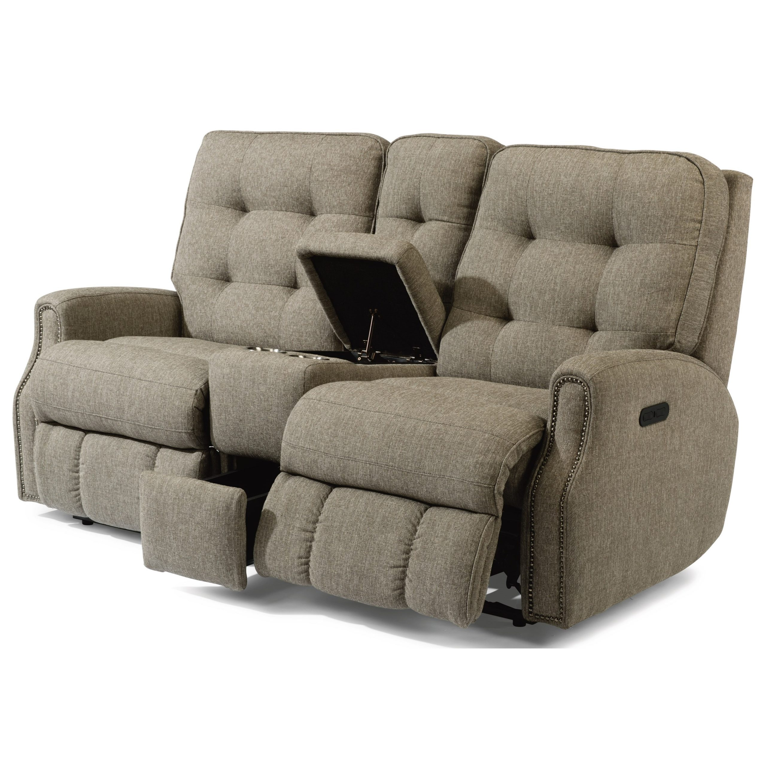 Flexsteel Devon Button Tufted Power Reclining Loveseat Within Recent Expedition Brown Power Reclining Sofas (View 10 of 15)